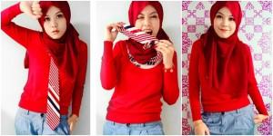 Gaya Hijab Seru Dalam Warna Merah Menyala